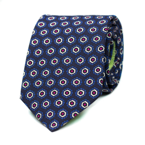 RETROUVAILLES - Printed silk tie with initials - The Seëlk - 1