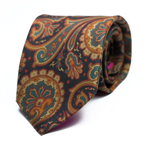 RHODODENDRON - Printed silk tie with initials - The Seëlk - 1