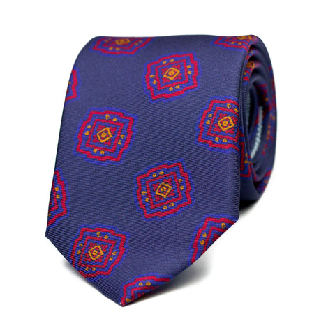 RONRONNER - Printed silk tie with initials - The Seëlk - 1