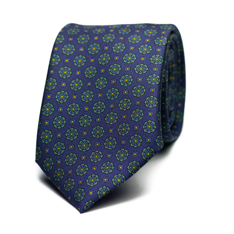 VAGAROSO - Printed silk tie with initials - The Seëlk - 1