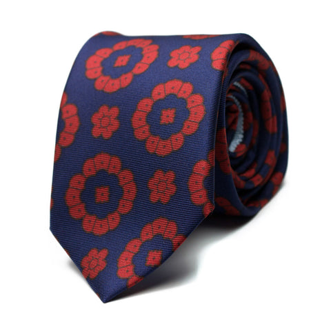 VENTOLERA - Ancient Madder silk tie with initials - The Seëlk - 1