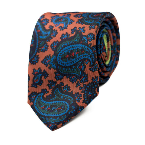 VESANIA - Ancient Madder silk tie with initials - The Seëlk - 1