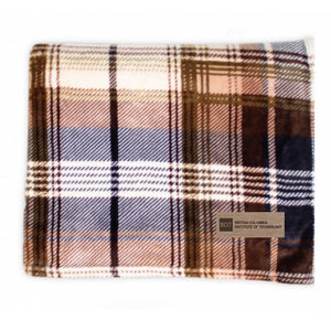 SALE  25% off     BCIT Classic Plaid Throw Brown