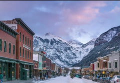 Snowy downtown view of telluride, Colorado.
