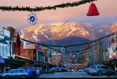 Snowy downtown view of Whitefish, Montana