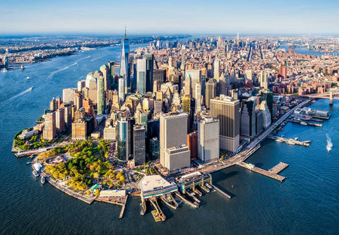 Helicopter view of NYC on a sunny day