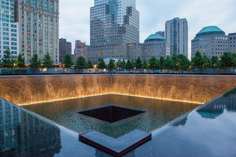 A chilling view of the 9/11 Memorial during sunset