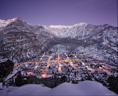 Snowy view of downtown Ouray, Colorado.