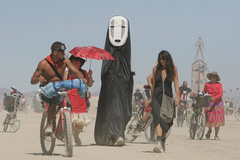 Bunch of friends at Burning Man Music Festival.