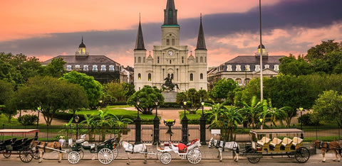 Beautiful view of the sunsetting on Jackson Square in New Orleans, Louisana.