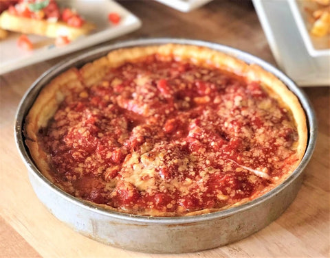 """Fresh out of the oven, The signature """"Malnati Chicago Classic"""" from one of Lou Malnati's 45 locations in Chicago."""
