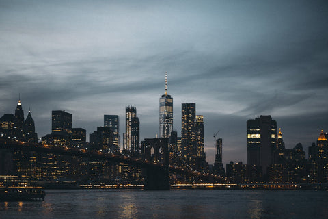 Skyline of NYC on a beautiful cloudy day