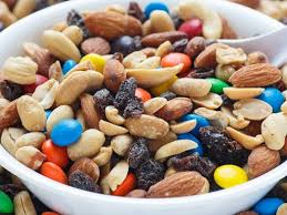 Bowl of trailmix with m&m's in it