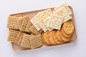 Crackers on a charcuterie board