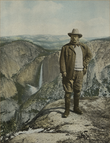 Teddy Rosevelt over looking a gorgeous canyon.
