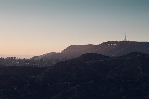 Sunset view of the Hollywood sign in Los Angeles, California.