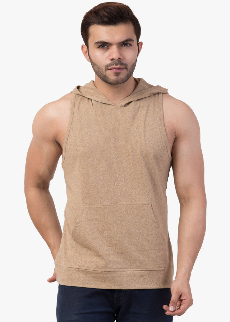 Solid Brown Sleeveless Hooded Sando#4