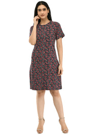 Printed Round Neck Pocket T-shirt Dress#9