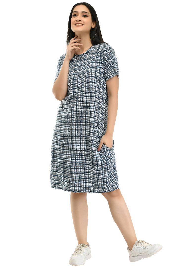 Printed Round Neck Pocket T-shirt Dress#15