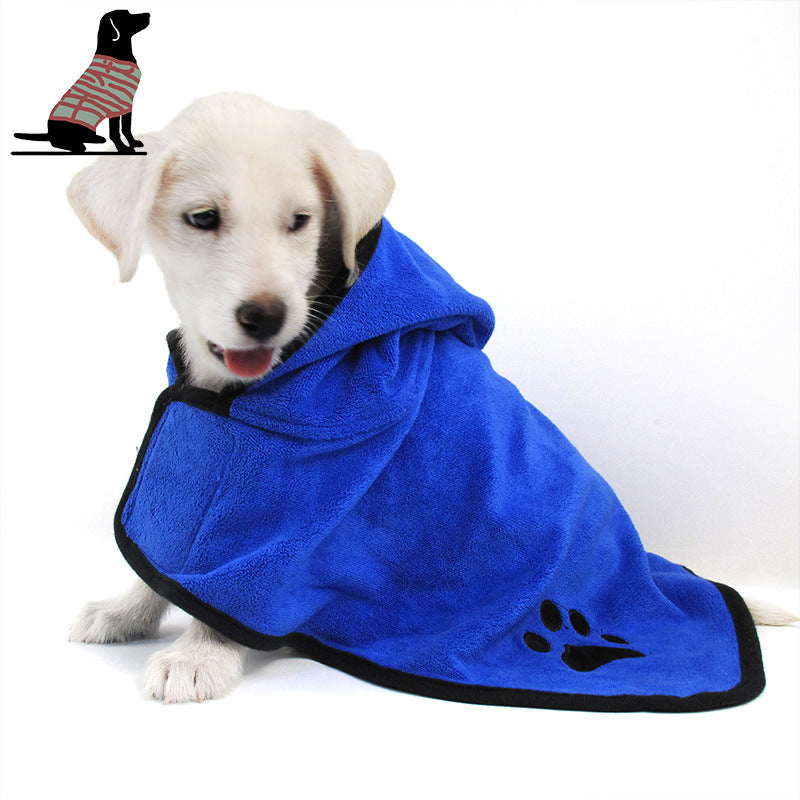 An image of a dog wearing the Super Absorbent Pet Towel sold by Saint N Mike.