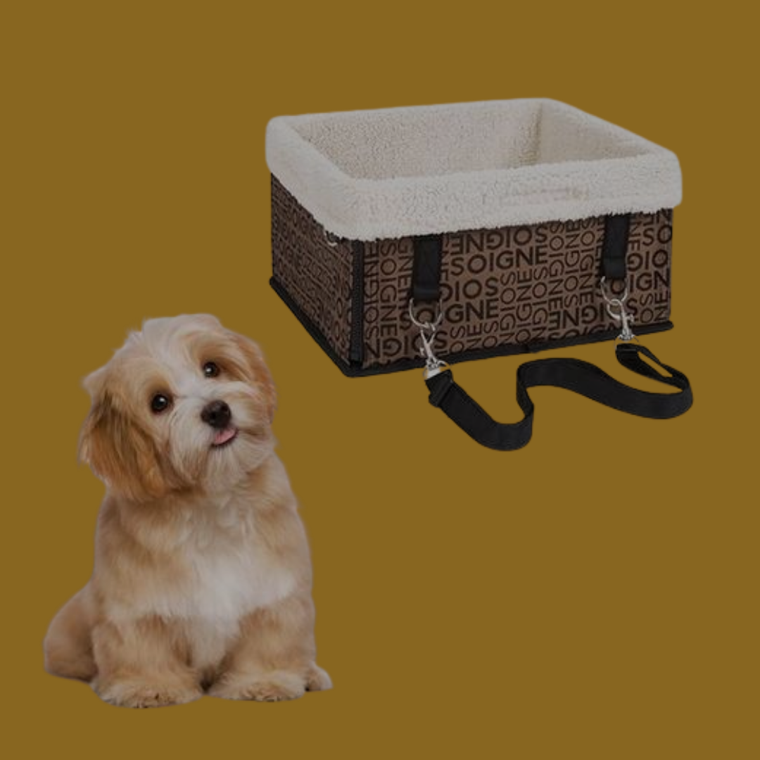 An image of a small dog next to the brown-and-white fleece-lined pet car booster bucket seat sold by Saint N Mike.