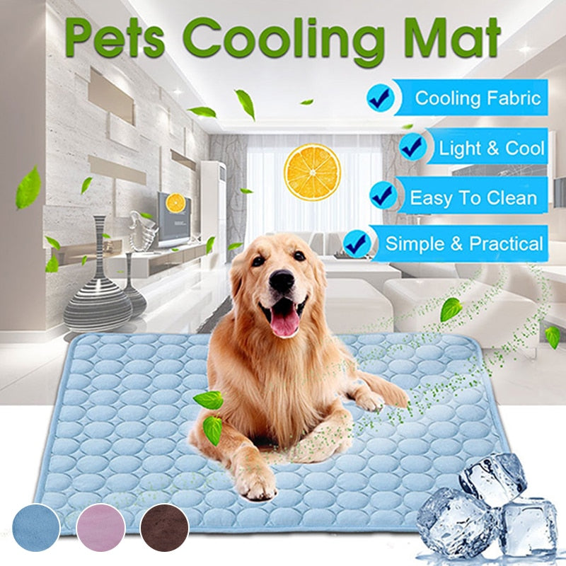 An image of a golden retriever laying on the blue Cooling Summer Mat sold by Saint N Mike.