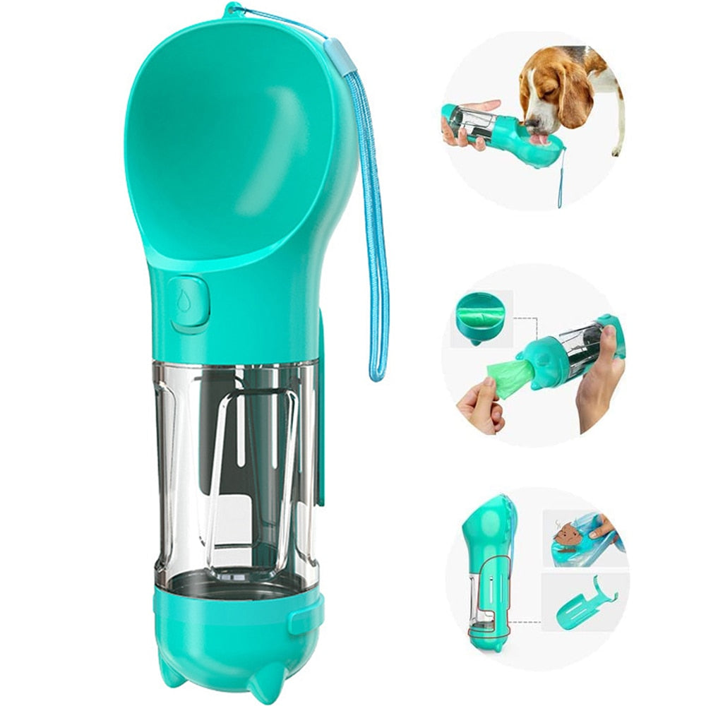 An image of the Saint N Mike Portable Dog Water Bottle from several different angles.