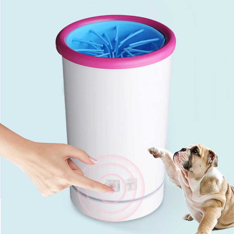 An image of a bulldog next to the USB-Charging Low-Noise Paw Cleaner sold by Saint N Mike.
