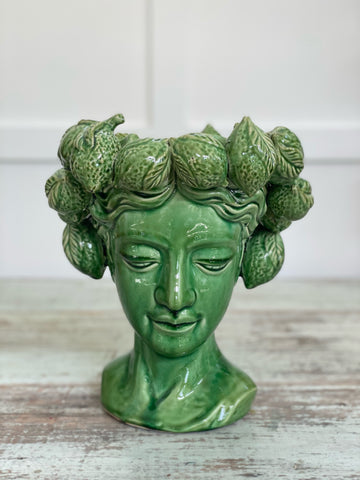 """Mrs Lemon Head"" vase green"