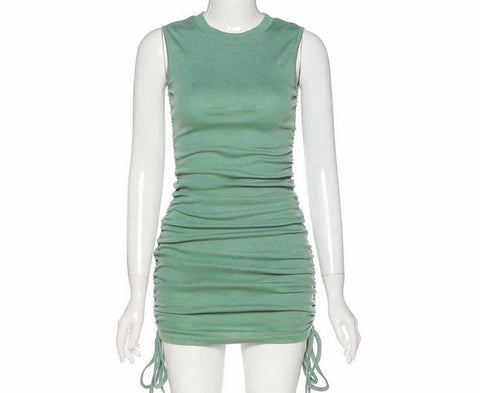 RUMI sage drawstring dress