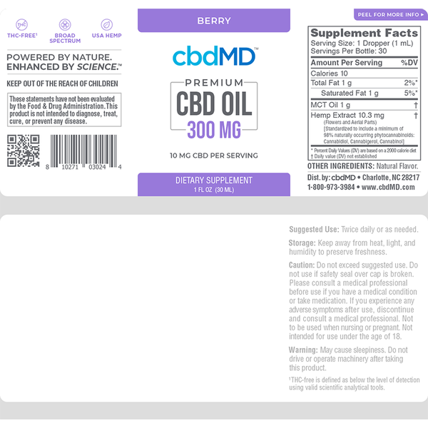 cbdMD CBD Oil Tincture BERRY - 300 MG - 30 ML THC-free