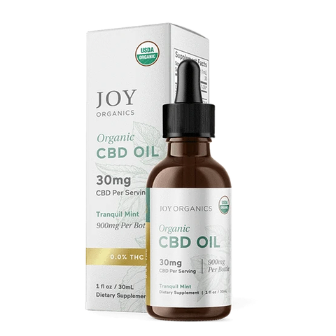 JOY ORGANICS CBD Organic Broad Spectrum (0.0% THC) CBD Oil Tincture Tranquil Mint 30mg/serving - 900mg/bottle