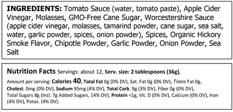 Food for Thought Truly Natural Hot & Smoky BBQ Sauce Ingredients & Nutritionals