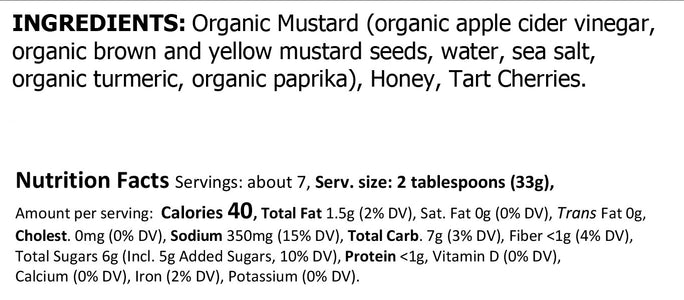 Truly Natural Cherry Honey Mustard Ingredients & Nutritionals