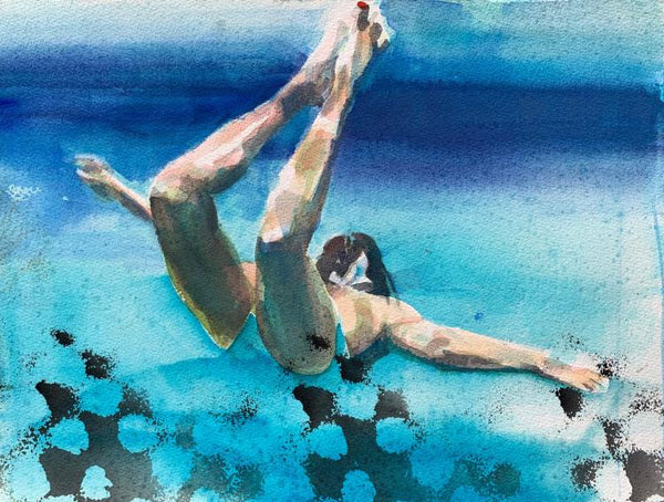 Figurative watercolor painting by Carol Bennett of woman floating underwater with her arms outstretched and legs curved behind her with black accents across the bottom of the painting.