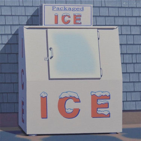 Oil painting of an ice machine against a panelled building by artist Rob Brooks