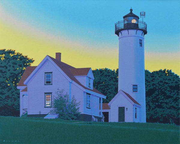 Oil painting of a white house and tall white lighthouse at dusk surrounded by full green trees by artist Rob Brooks.