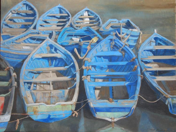 Oil painting by artist Michel Brosseau of ten blue row boats anchored together with a warm surroundings.