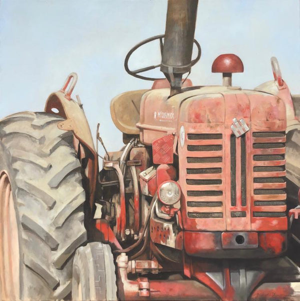 Close up still-life oil painting of a dusty red tractor by artist Michel Brosseau.