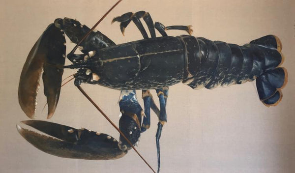 Still life oil painting by Michel Brosseau of a blue lobster against a beige backdrop.