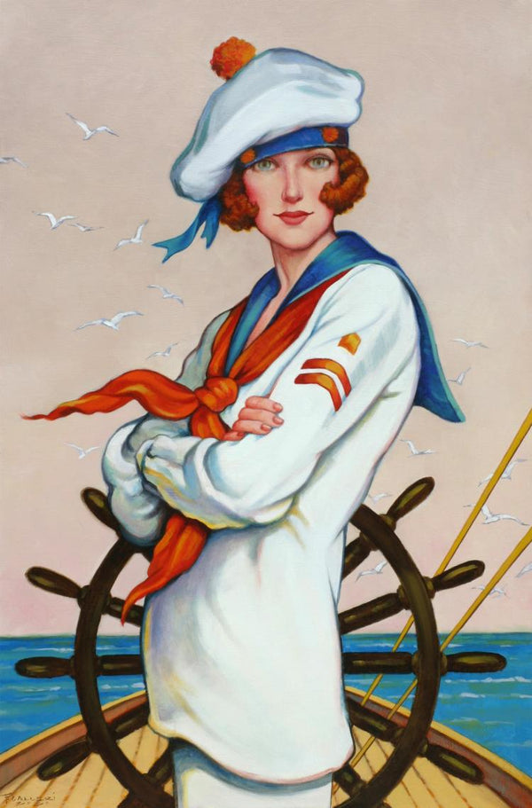 Figurative oil painting by Fred Calleri of a female sailor in uniform standing at the helm of a ship, the steering wheel behind her.