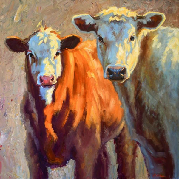 Oil painting by Cheri Christensen of two cows, one brown with a white face, and one all white. Both are looking out at the viewer with a curious gaze.