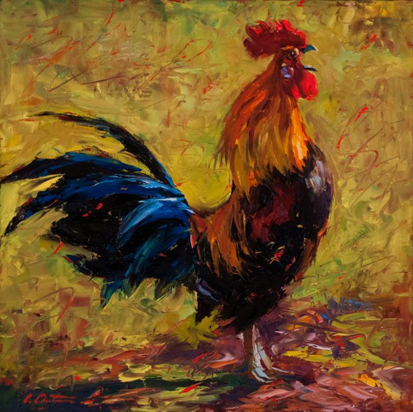 Oil painting by Cheri Christensen of a rooster calling out the morning light against a vibrant and colorful backdrop