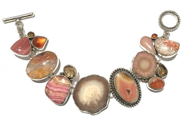 """Sterling Silver, Rhodocrosite, Fire Opal, Crazy Lace Agate, Stalagtite"""
