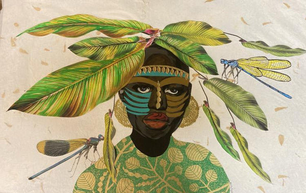 Mixed media piece by Janice Frame of an African woman wearing a green and gold top with plant patterns and gold round earrings. Atop her heard are large green leaves and she wears a gold headband across her forehead and tribal face paint across her cheeks and above her brows. Two large dragonflies are on either side of her.