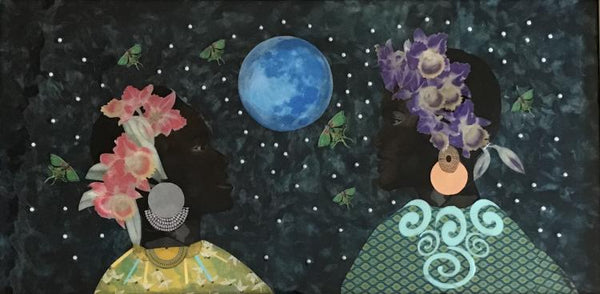 Mixed media work by Janice Frame of two black women's side profile as they look at one another against a dark evening sky, speckled with stars. A blue moon in the center. The two women are wearing flowers crowns
