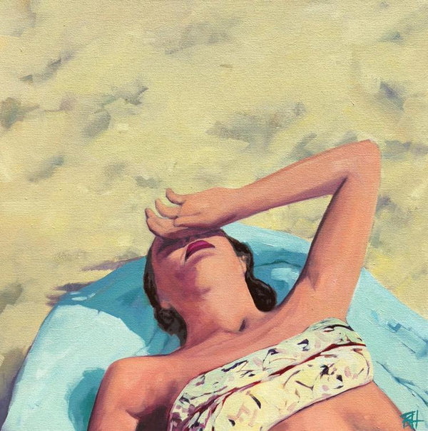 Oil painting by TS Harris of a woman laying at the beach on a blue beach towel with the back of her hand to her temple.
