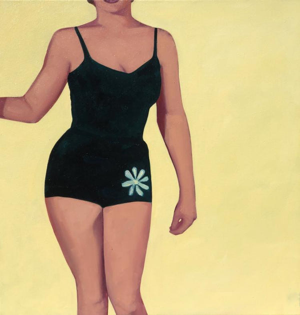 Oil painting by TS Harris of a woman's torso in a black retro swimsuit with a green flower design over the left hip. There is a bright yellow backdrop.