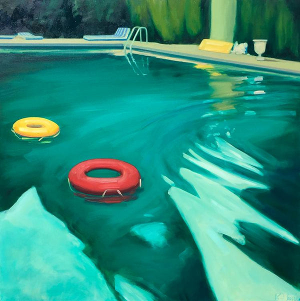 Oil painting by TS Harris of a turquoise swimming pool with two pool donuts– one red and one yellow. Green shrubs surround the edge of the pool area.