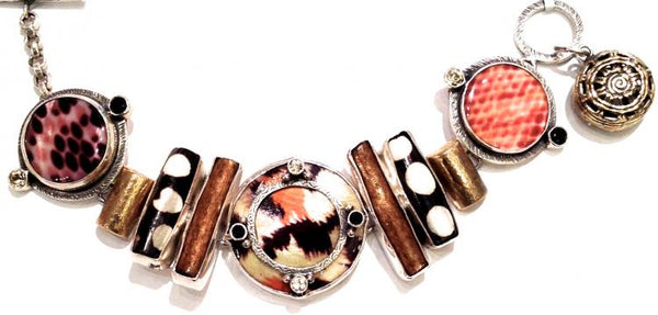 """Sterling Silver, Brass, Animal Print Shell, Coral, Topaz Bracelet"""